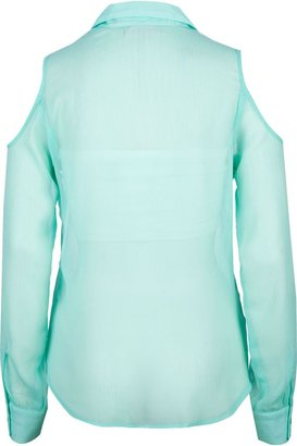 LOTTIE & HOLLY Chiffon Womens Cold Shoulder Shirt