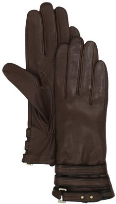 Vince Camuto Women's Contrast Belted Leather Glove, Brown, Large