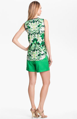 Vince Camuto Faux Leather Trim Half Zip Tank Grass Green X-Large Regular