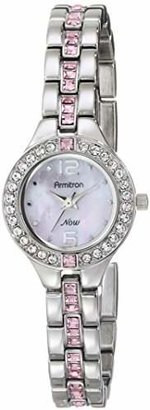 Armitron Women's 75/5205PMSV Pink Swarovski Crystal Accented Silver-Tone Bracelet Watch $52.49 thestylecure.com