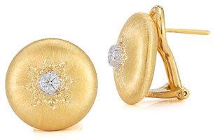 Buccellati Classica 18k Gold Small Button Earrings with Diamonds