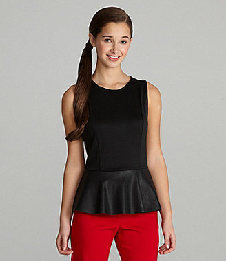 Lily White Faux Leather Peplum Top