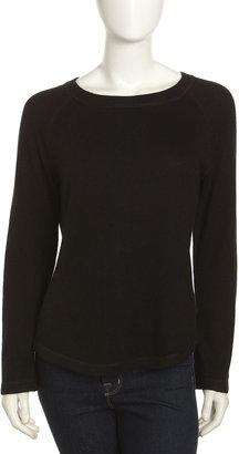 Neiman Marcus Silk-Cashmere Sweater, Black