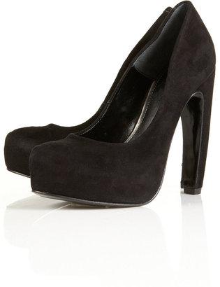 Topshop PACO Banana Heeled Suede Platform Court Shoes