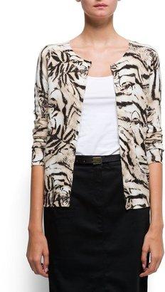 MANGO Animal print angora and cotton cardigan