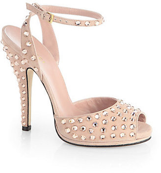 Gucci Eve Crystal-Coated Suede Sandals