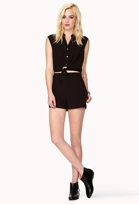 Forever 21 georgette tie-front romper