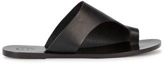 ATP ATELIER Rosa Black Leather Sandals