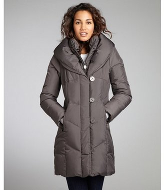 Tahari concrete quilted woven 'Grace' down coat