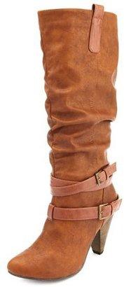 Charlotte Russe Double Buckle Cone Heel Boot