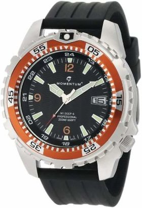 Momentum Men's 1M-DV06O8B M1 Deep 6 Orange Bezel Black Ribbed Rubber Watch