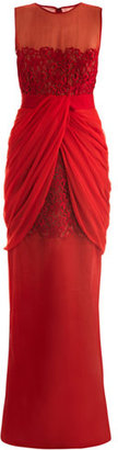 Giambattista Valli Lace and georgette draped dress