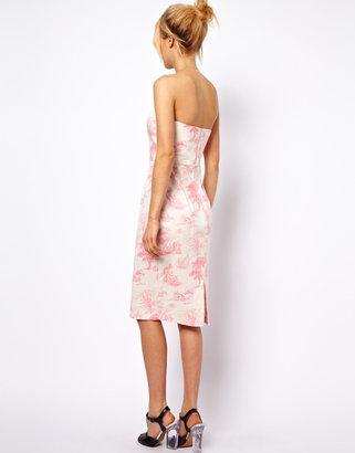 Asos Bandeau Dress In Pink Wedgewood