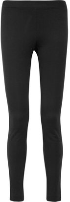 DKNY Leather-paneled stretch-jersey leggings
