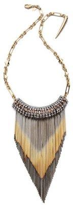 Iosselliani Long Shaded Fringe Brass Necklace