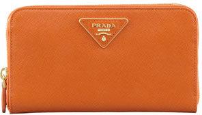 Prada Saffiano Triangle Zip-Around Wallet, Orange