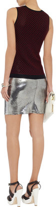 Alice + Olivia Caitlin metallic stretch-leather skirt