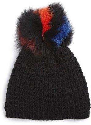 Women's Kyi Kyi Genuine Fox Pompom Hat - Black $85 thestylecure.com