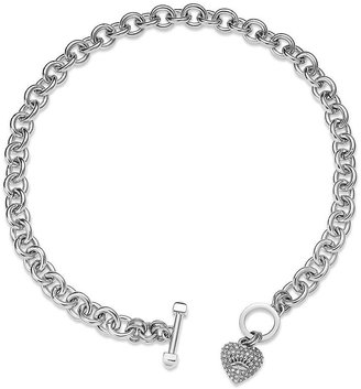 Juicy Couture Necklace, Silver-Tone Pave Heart Charm Necklace