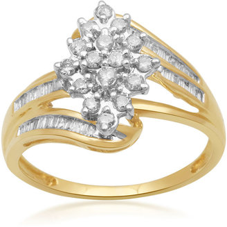 FINE JEWELRY 1/2 CT. T.W. Diamond 10K Yellow Gold Cluster Ring $624.98 thestylecure.com