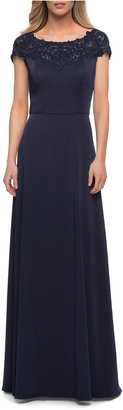 La Femme Bateau-Neck Jersey Long Gown with Lace
