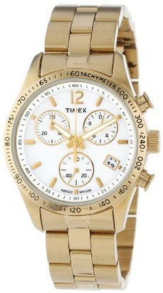 Timex Women's T2P058KW Ameritus Chronograph White Dial, Gold-Tone Stainless Steel Bracelet Watch $139.49 thestylecure.com