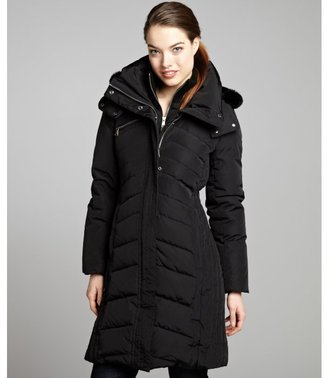 Andrew Marc New York black quilted woven fur trimmed 'Aubrey' down coat