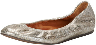 Lanvin Metallic Leather Ballerina Flat, Platinum