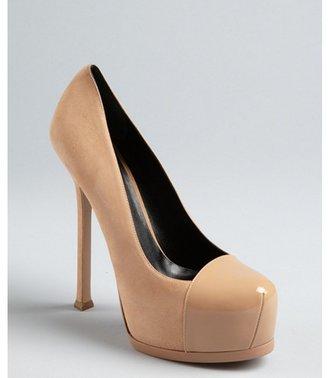 Yves Saint Laurent nude suede and patent leather cap toe platform pumps