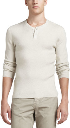 Vince Long-Sleeve Thermal Henley Sweater, H.White