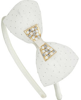 Dorothy Perkins Cream double bow alice band