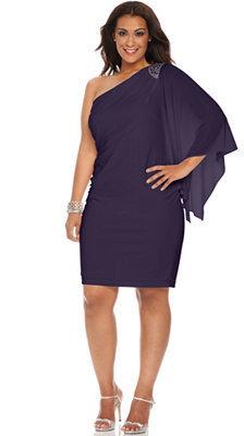 R & M Richards R&M Richards Plus Size One-Shoulder Beaded Dress