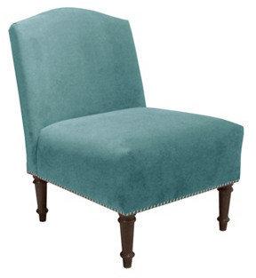 Skyline Furniture Mfg. Inc. Clark Slipper Chair, Aqua Velvet