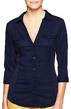 Mng by Mango® Blue Knit Inset Shirt