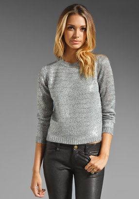 Alice + Olivia Levine Metallic Crewneck Sweater with Sequins in Silver/Clear