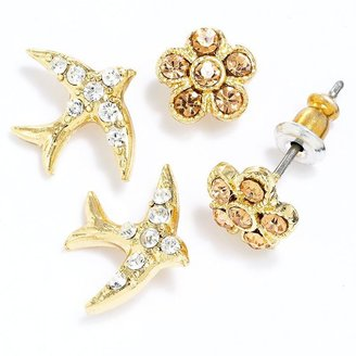 Lauren Conrad gold tone simulated crystal flower and bird button stud earring set