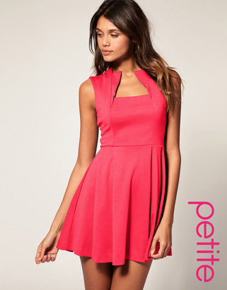 Asos Square Neck Fit And Flare Dress