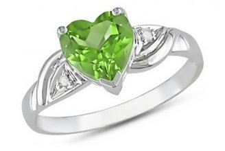 Ice 1 1/3 CT Peridot and Diamond 10K White Gold Ring