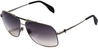 Alexander McQueen Men's Skull Aviator Sunglasses, Dark Gray