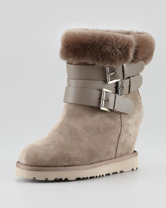 Ash Yes Shearling-Cuff Wedge Boot, Topo