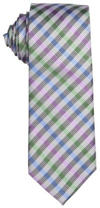 Ben Sherman lilac and green plaid 'Pierce' silk tie