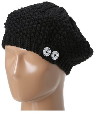 Hat Attack Knit Beret w/ Buttons (Black) - Hats