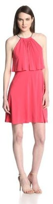 Jessica Simpson Women's Halter Popover-Bodice Flared Dress