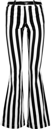Alice + Olivia Striped high-rise flared jeans