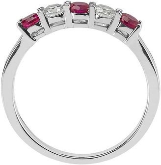 14k White Gold Ruby & 1/5-Ct. T.w. Round-Cut Diamond Ring