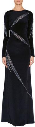 Emilio Pucci Black Silk Crystal Embellished Evening Gown