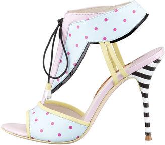 Webster Sophia Leilou Polka-Dot T-Strap Sandal, Blue/Pink