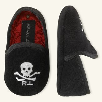 Velvet Skull-and-Bones Slip-On