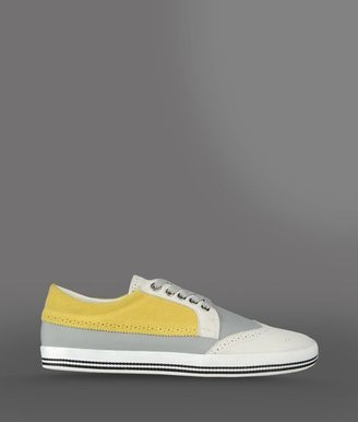 Emporio Armani Colourful Sneaker In Nylon And Suede