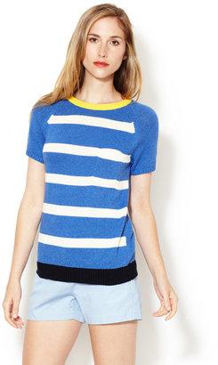 Trovata Striped Contrast Short Sleeve Sweater